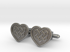 Heart Cufflink in Natural Silver