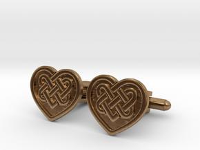 Heart Cufflink in Natural Brass