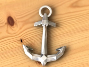 Anchor in Fine Detail Polished Silver