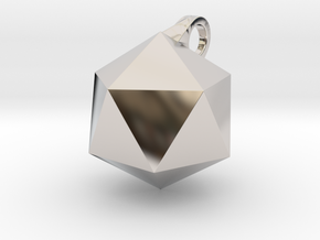 Icosahedron - Pendant in Rhodium Plated Brass