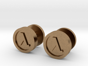 Half-Life Lambda Cufflink in Natural Brass