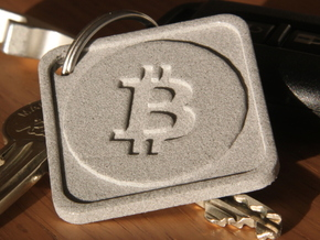 Keychain with Bitcoin Logo in Polished Metallic Plastic