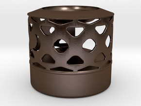 Oil Lamp - Wax Melter in Polished Bronze Steel
