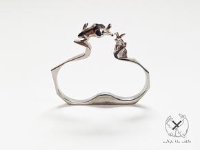 Double Rabbit Ring in Polished Brass