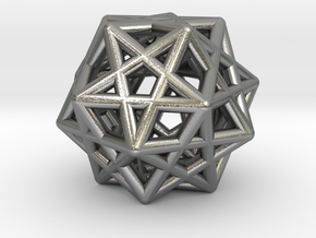 Star Dodecahedron Pendant in Natural Silver