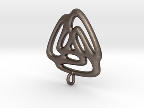 Triangle Fusion Pendant in Polished Bronzed Silver Steel