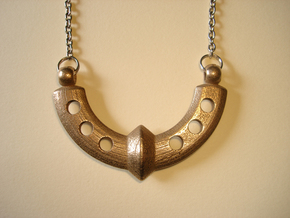 Wide Ring Necklace Pendant in Polished Bronzed Silver Steel