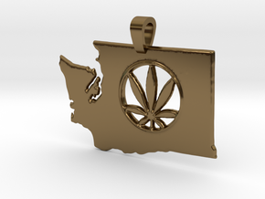 Washington State Pot Pendant in Polished Bronze