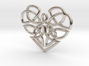 Heart Celtic Knot Pendant in Rhodium Plated Brass