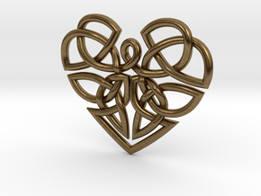 Heart Celtic Knot Pendant in Natural Bronze
