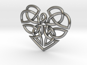 Heart Celtic Knot Pendant in Natural Silver