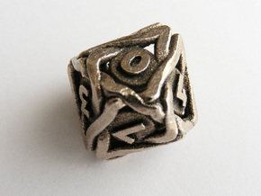 'Twined' Dice D10 Gaming Die (18 mm) in Polished Bronzed Silver Steel