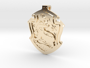 Hufflepuff House Crest - Pendant SMALL in 14k Gold Plated Brass
