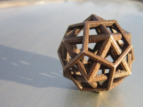 IcosoDodecahedron Thick - 3.5cm in Matte Bronze Steel