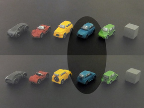 Miniature cars, City car (8pcs) in Blue Strong & Flexible Polished