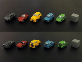Miniature cars 20mm, 5 models (5pcs) in White Processed Versatile Plastic
