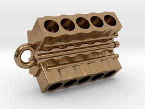 V10 Engine block pendant/keychain in Natural Brass