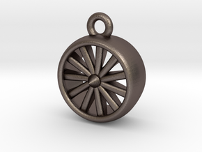 Jet Engine Pendant in Polished Bronzed Silver Steel