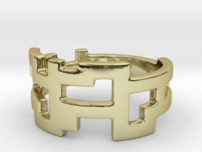 Ring Blocks - Size 7 in 18k Gold Plated Brass