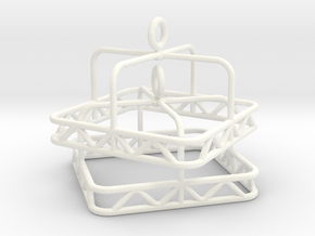 Skeleton square Jhumka - Indian Bell Earrings in White Processed Versatile Plastic