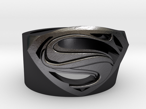Superman Ring - Man Of Steel Ring US11 in Polished and Bronzed Black Steel