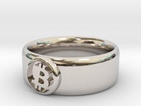 Bitcoin Ring (BTC) - Size 11.0 (U.S. 20.57mm dia) in Rhodium Plated Brass