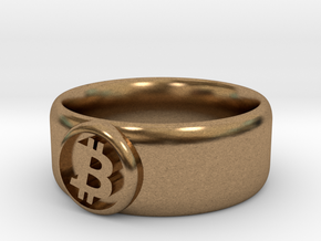 Bitcoin Ring (BTC) - Size 9.0 (U.S., 18.95mm dia) in Natural Brass
