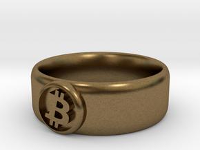 Bitcoin Ring (BTC) - Size 11.5 (U.S. 20.98mm dia) in Natural Bronze