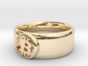 Bitcoin Ring (BTC) - Size 8.5 (U.S. 18.54mm dia) in 14k Gold Plated Brass