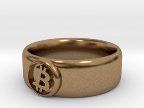 Bitcoin Ring (BTC) - Size 12.0 (U.S. 21.39mm dia) in Natural Brass