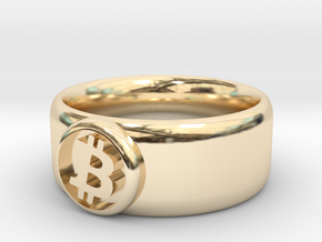 Bitcoin Ring (BTC) - Size 8.0 (U.S. 18.14mm dia) in 14k Gold Plated Brass
