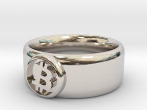 Bitcoin Ring (BTC) - Size 8.0 (U.S. 18.14mm dia) in Rhodium Plated Brass