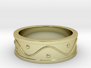 Ring Dots and Wave - Size 5 in 18k Gold Plated