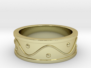 Ring Dots and Wave - Size 4 in 18k Gold Plated Brass