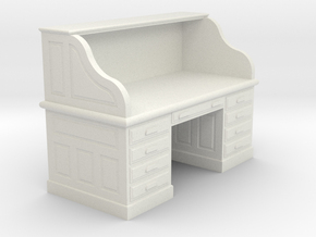 Miniature 1:48 Roll-top Desk in White Natural Versatile Plastic