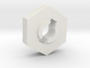 Mini 8ight Wheel Hub Hex in White Natural Versatile Plastic
