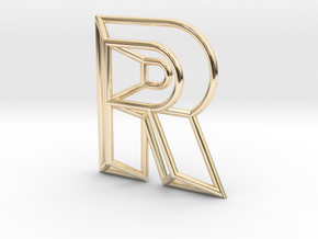 R Pendant in 14k Gold Plated Brass