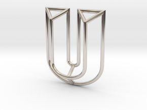 U Pendant in Rhodium Plated Brass