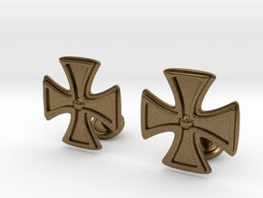 Designer Cross Cufflink in Natural Bronze
