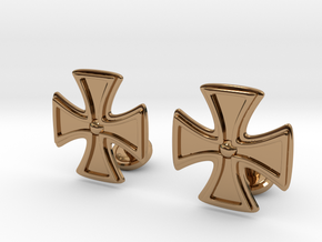 Designer Cross Cufflink in Polished Brass
