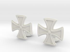Designer Cross Cufflink in White Natural Versatile Plastic