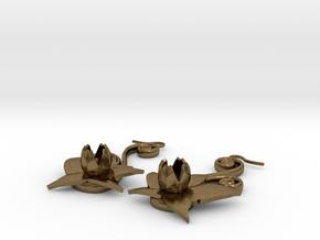 Flower Earrings in Natural Bronze