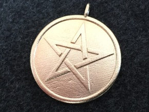 Solid Pentacle Pendant in Natural Brass