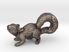 Squirrel Pendant in Polished Bronzed Silver Steel