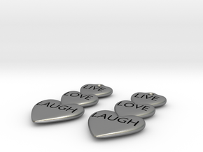 Live Love Laugh Hearts Earrings in Natural Silver