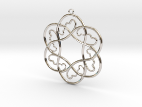 Little Hearts Pendant in Rhodium Plated Brass