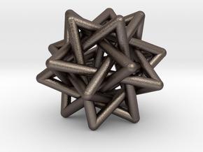 Merkaba Pendant in Polished Bronzed Silver Steel
