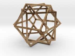 3 Cube Compound in Natural Brass