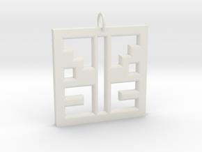 Square Angel Pendant in White Natural Versatile Plastic