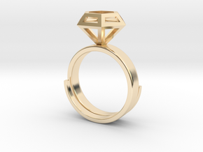 Diamond Ring US 7 3/4 in 14k Gold Plated Brass
